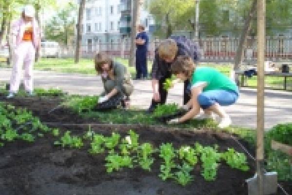 Ребята из школы-интерната высадили цветы в сквере на проспекте Мира