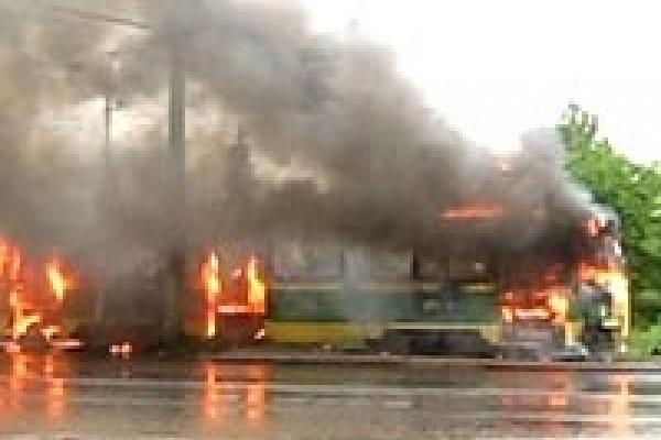 В Липецке сгорел трамвай
