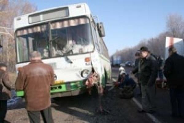 Иномарка протаранила  рейсовый автобус