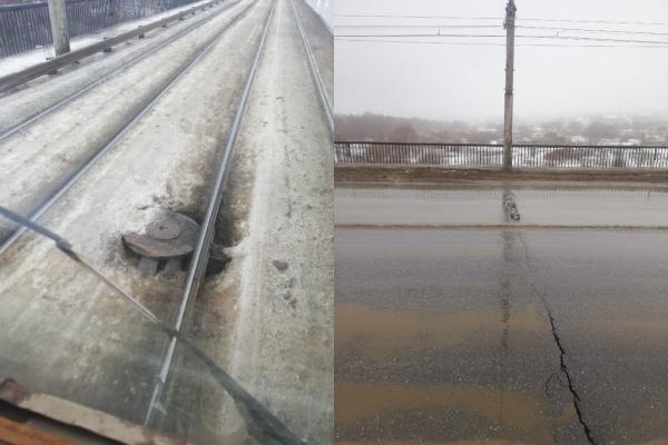 Водители трамваев опасаются ездить по Октябрьскому мосту в Липецке из-за увеличившихся трещин